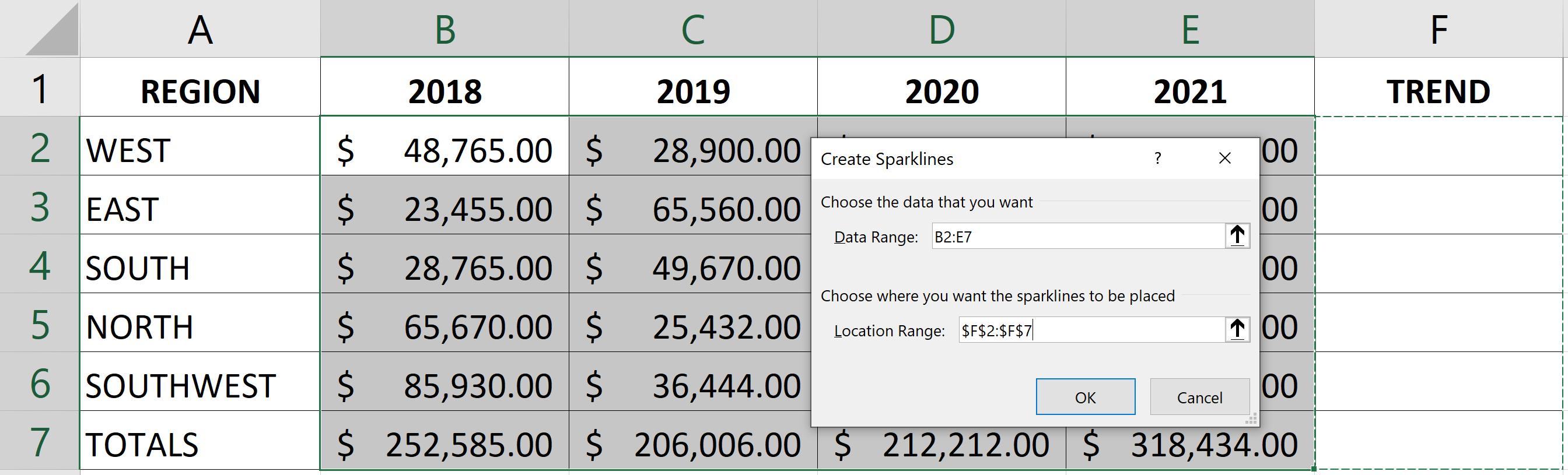 Microsoft Excel Sparklines, Excel charts