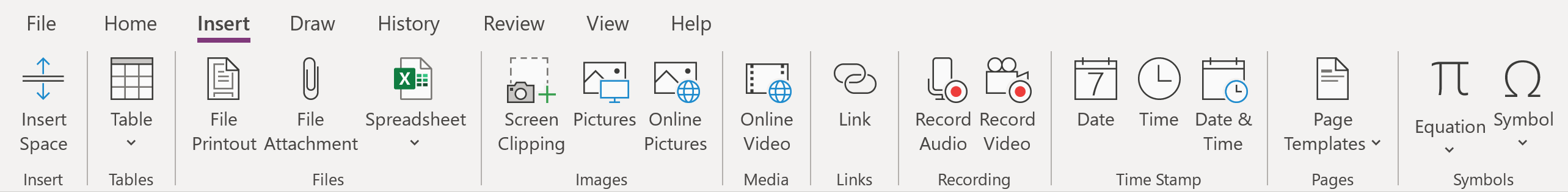 image of OneNote Insert tab, icrosoft OneNote Tips; Insert options