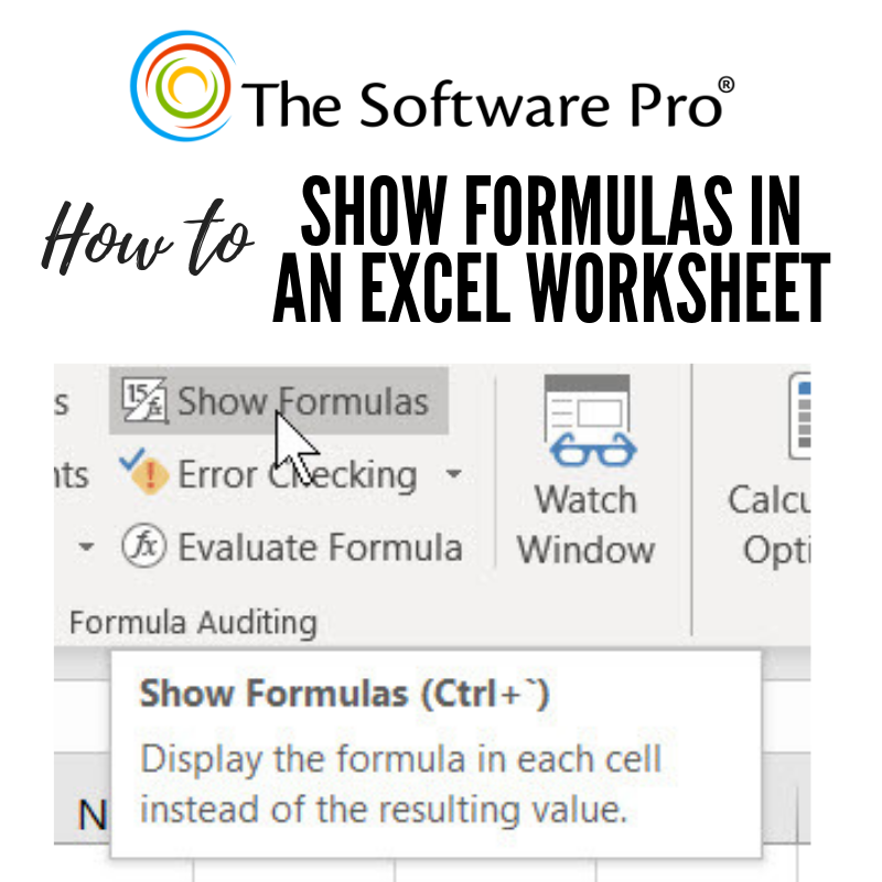 Microsoft Excel How to Show Formulas in a Worksheet