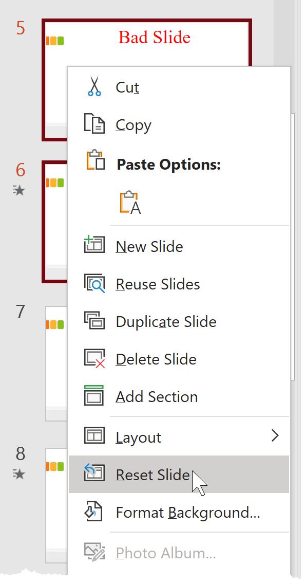 image for PowerPoint slide master reset slide option