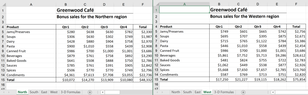 Image of two worksheets formatted for Excel 3D formulas, how to create a 3D formula in Excel