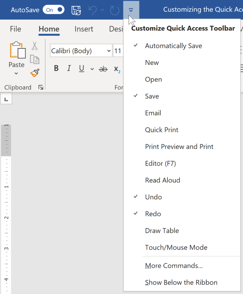 image of the Microsoft Word Quick Access Toolbar, find out how to customize the Word Quick Access Toolbar